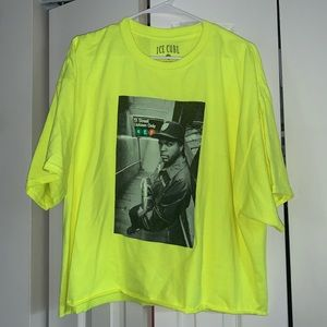 Neon yellow Ice cube cropped top 2x
